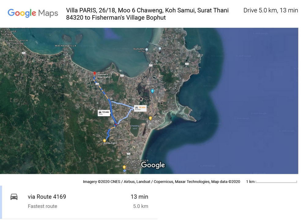Route and distance of 5 Km between Villa PARIS on Chaweng and the tourist area of Fisherman Village with its restaurants and bars.